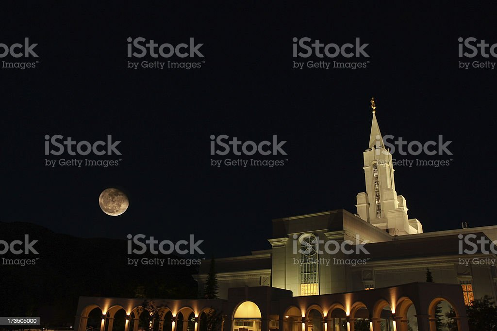 Bountiful Temple at Night stock photo