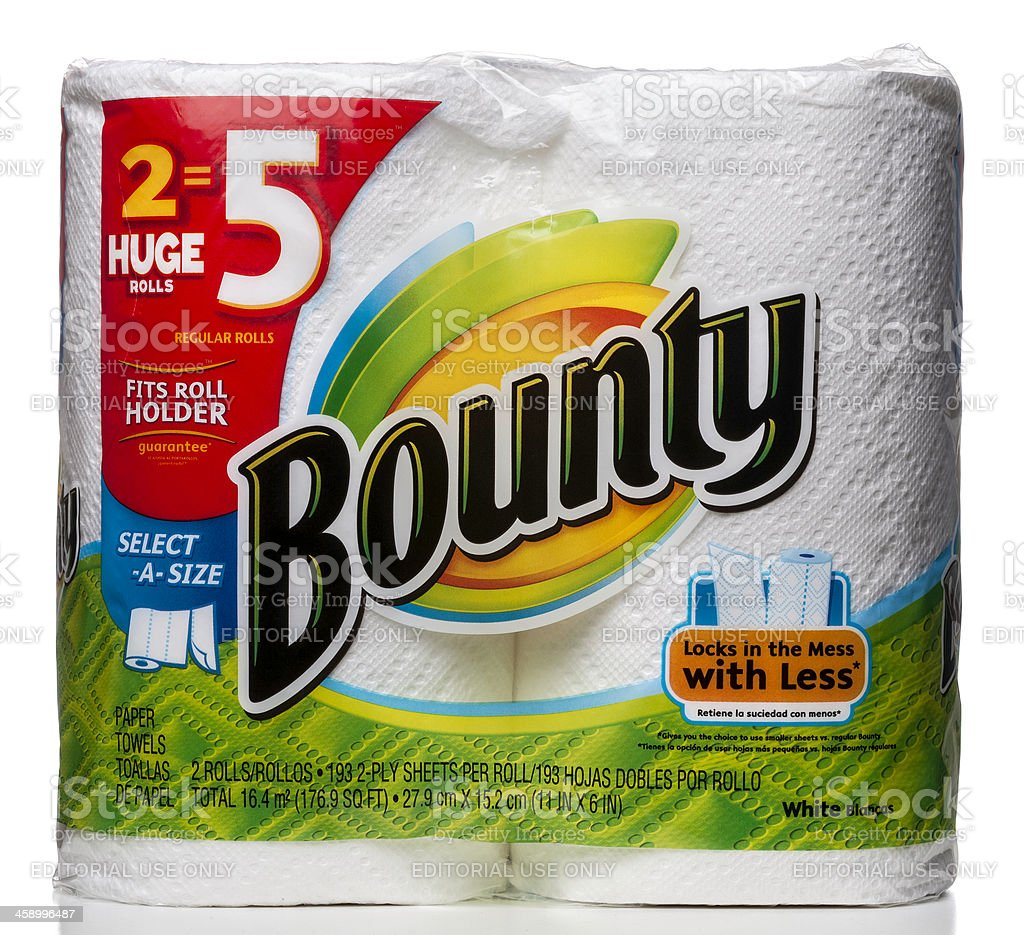 Bounty 2 paper towels rolls package royalty-free stock photo