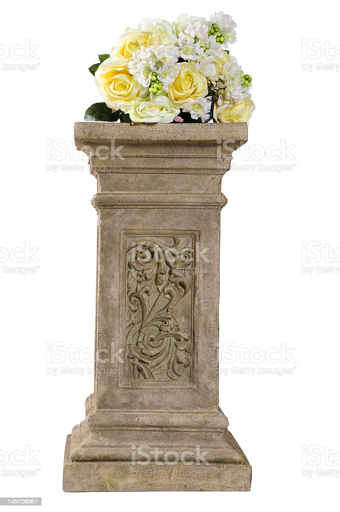 Bouqeut of flowers on a  pedestal royalty-free stock photo