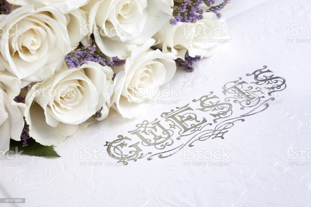Bouquet and Guest Book stock photo