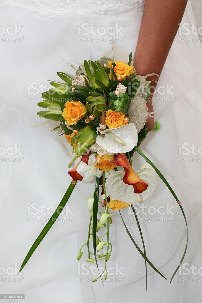 Bouquet blanc et orangé stock photo