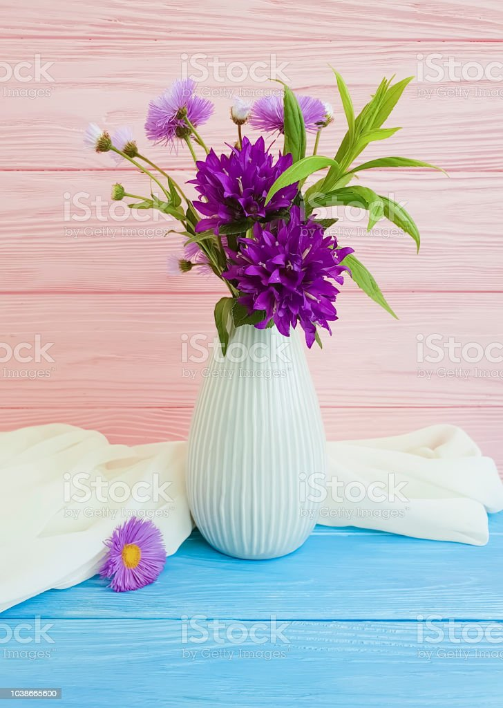 Bouquet Chrysanthemum Bell In A Vase On A Wooden Background Stock