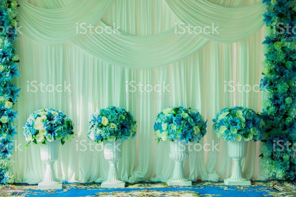 Beautiful flowers in vase on wedding ceremony, copy space. Wedding...