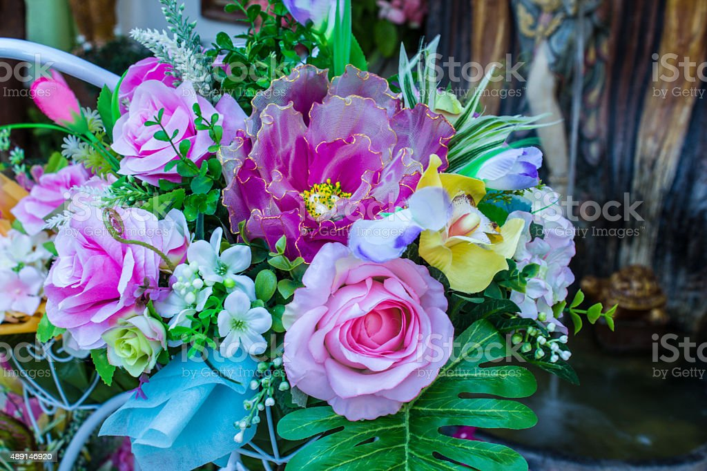 Bouquet flowers in bicycle. stock photo