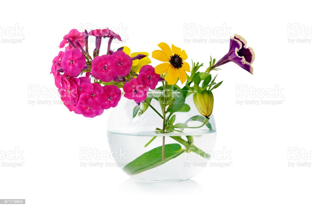 183 & Bouquet Fresh Flowers In Glass Vase Isolated On White Stock Photo - Download Image Now