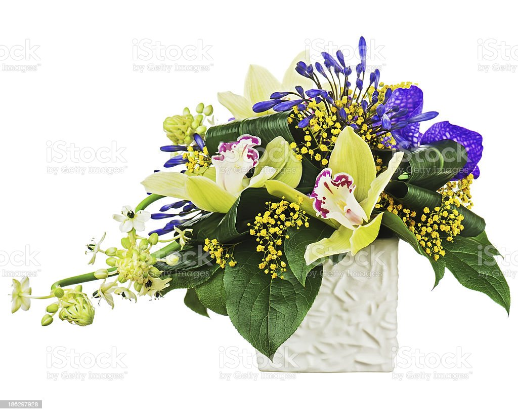 Bouquet From Orchids And Arabian Star Flower Ornithogalum Arabi