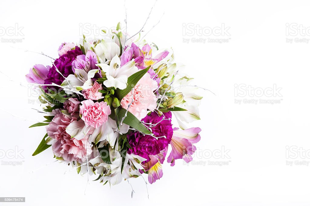 Bouquet from pink and purple gillyflowers stock photo