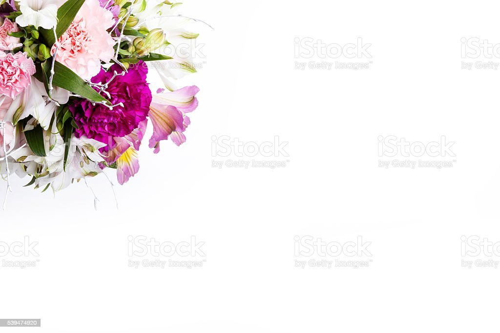 Bouquet from pink and purple gillyflowers, top view stock photo