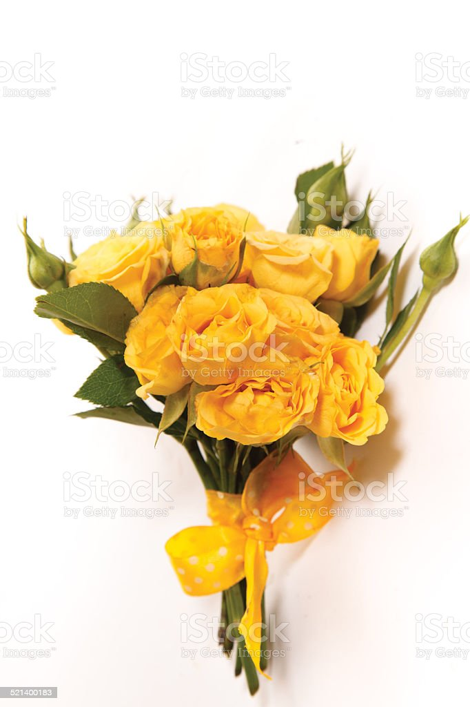 bouquet from small yellow roses stock photo