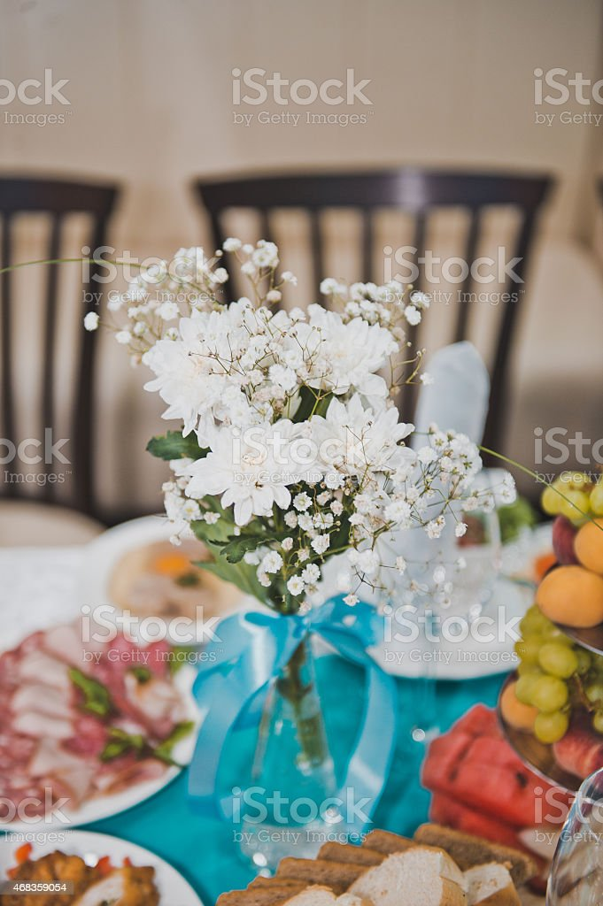 Bouquet from white flowers on a table 1759. royalty-free stock photo