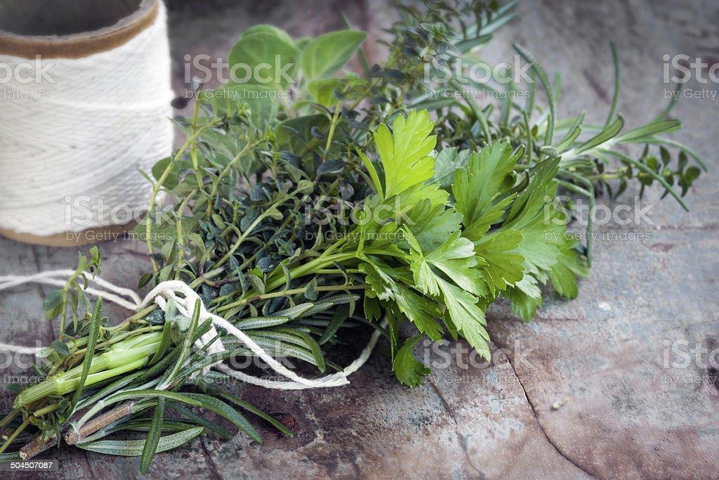 Bouquet Garni Fresh Herbs stock photo