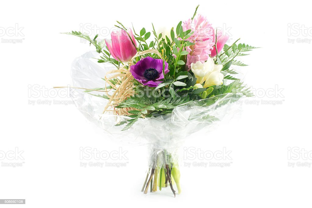 Bouquet In Cellophane Pink And Purple Flowers Isolated On