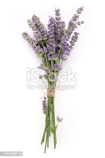 Top view of a bouquet lilac lavender flowers isolated on white background