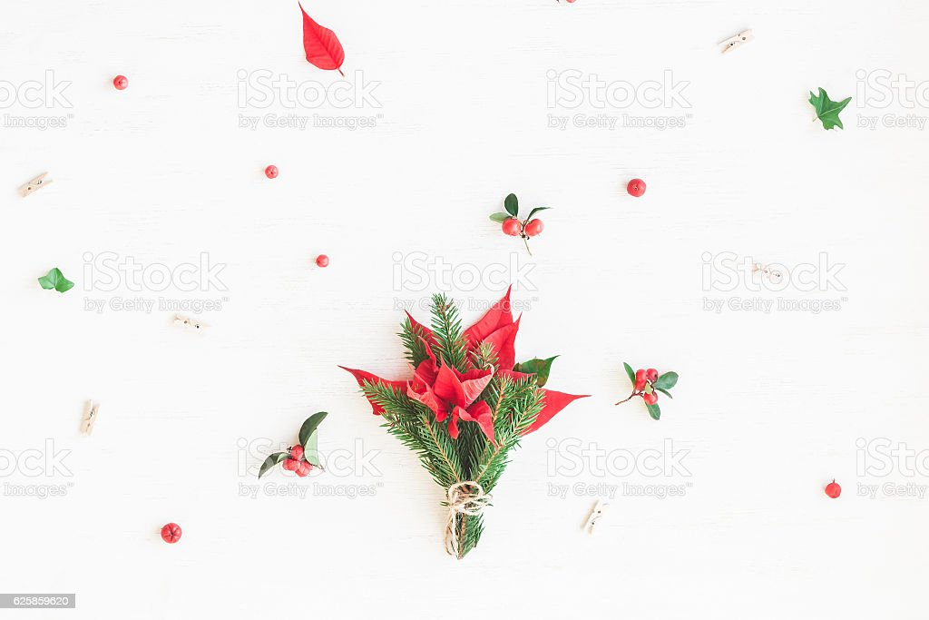 Bouquet made of traditional christmas plants. Flat lay, top view stock photo