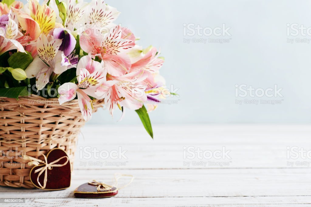 Bouquet of alstroemeria stock photo