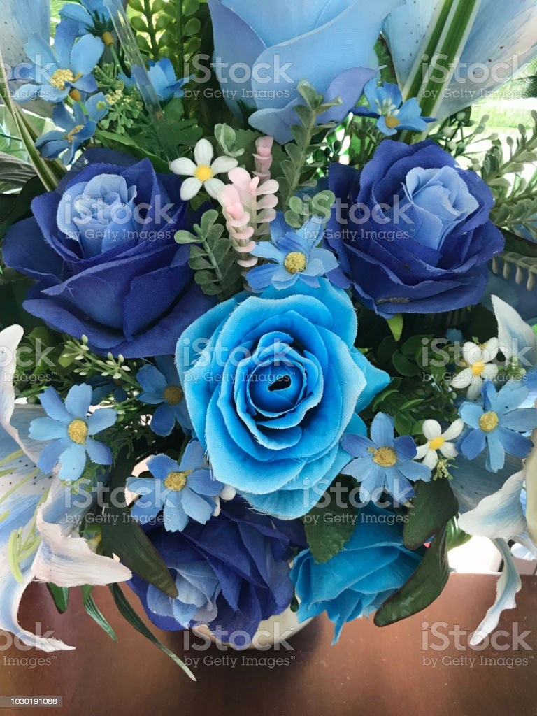 A Bouquet Of Artificial Blue Flowers Stock Photo More Pictures Of
