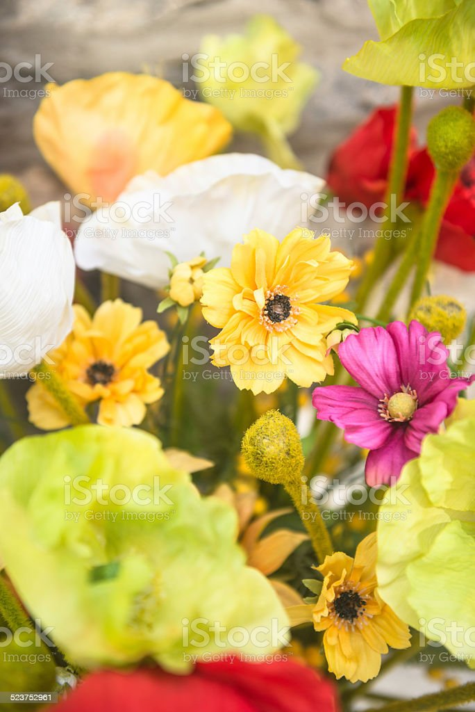 bouquet of artificial paper flowers stock photo