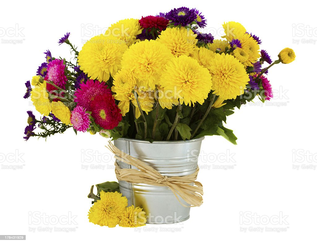 bouquet of aster and mums in vase stock photo
