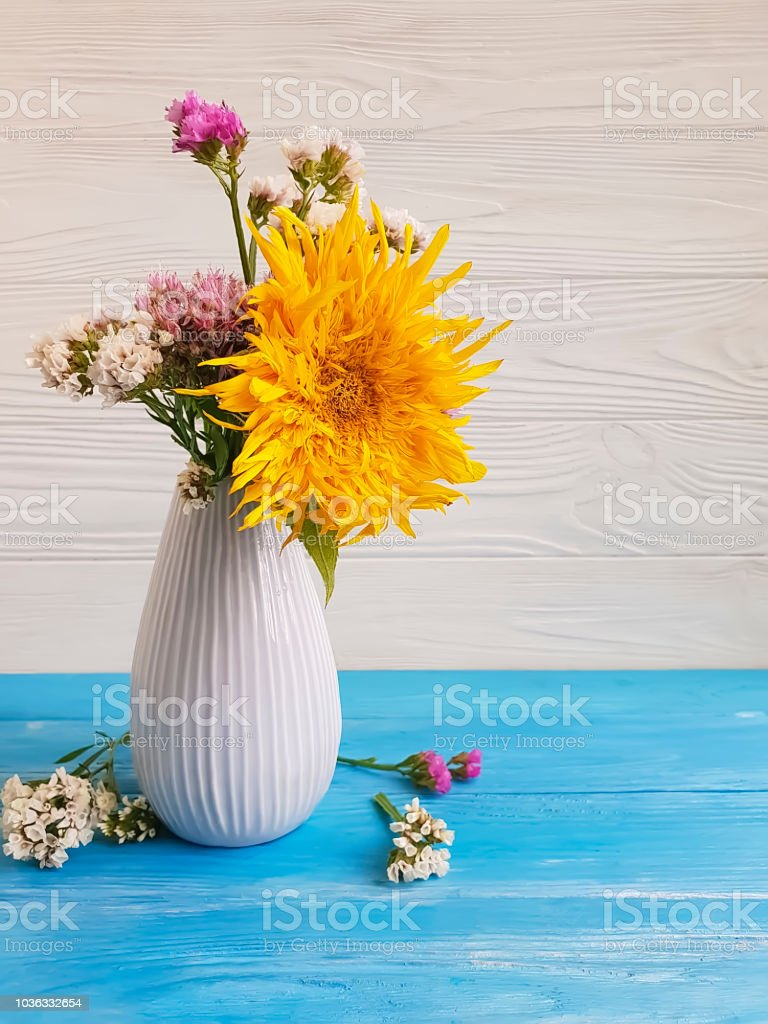 Bouquet Of Autumn Flowers In A Vase On A Wooden Background Rustic Design Stock Photo Download Image Now Istock