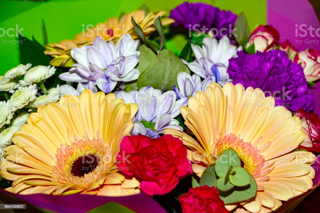 Bouquet of beautiful assorted colors stock photo