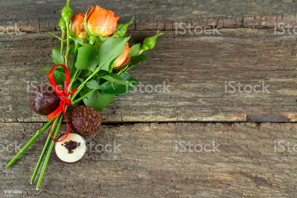 Bouquet Of Beautiful Roses And Chocolate Stock Photo More Pictures