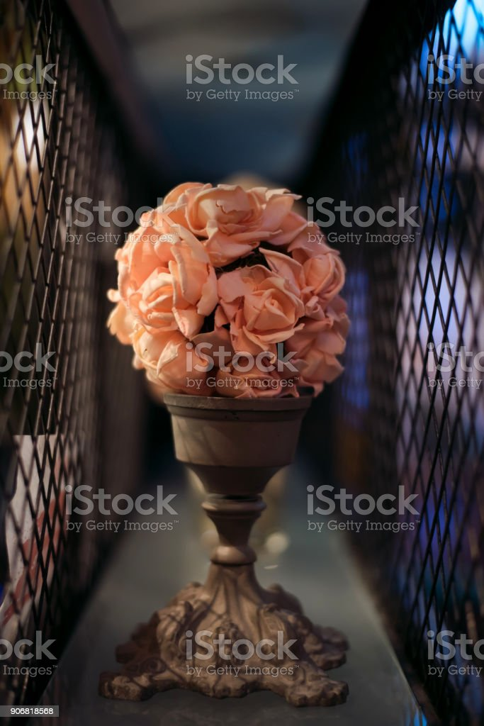 Bouquet of beautiful spring flowers in interior, close up, for women to Valentine's day stock photo