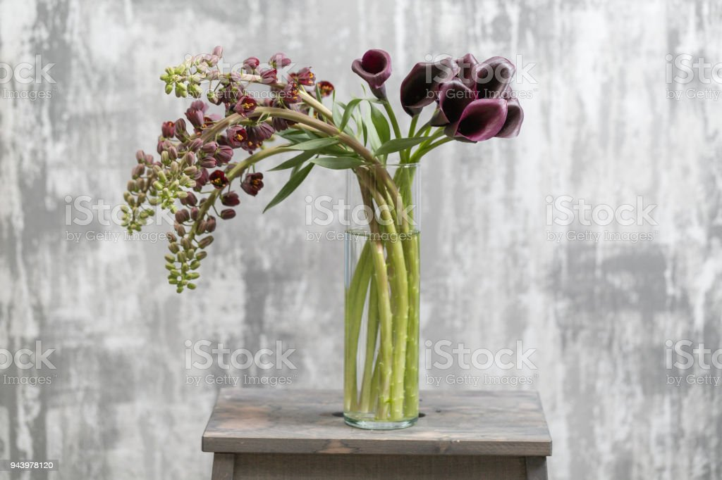 Bouquet Of Beautiful Violetbrown Fritillaria Flowers And Calla