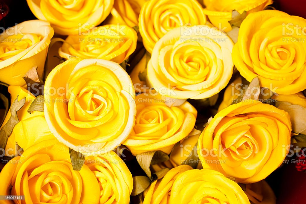 Bouquet of beautiful yellow roses. royalty-free stock photo