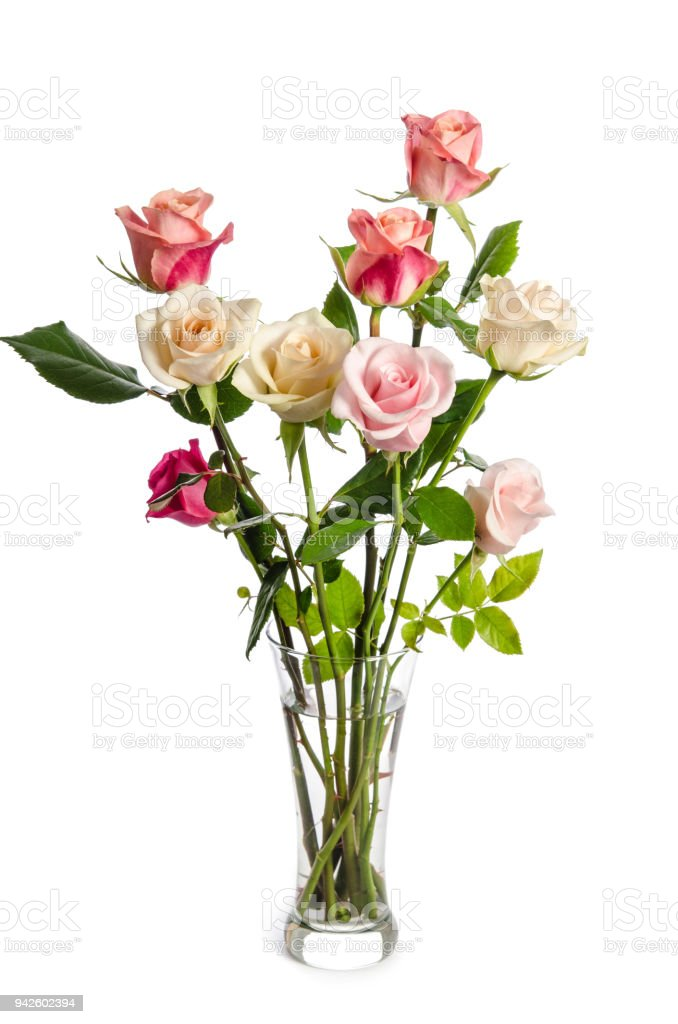 Bouquet Of Beauty Roses In Glass Vase Isolated On White Background