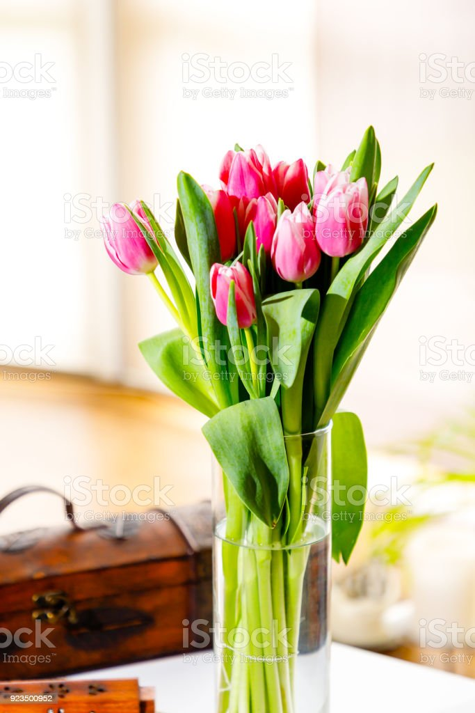 A bouquet of blooming tulips stock photo