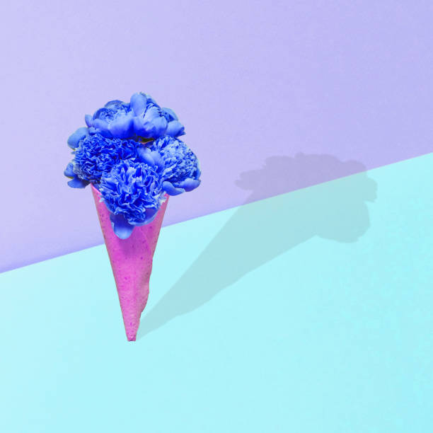 Ein Strauß blauer Pfingstrosen blumen in einem Waffelkegel – Foto