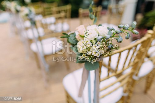 bouquet of bride wedding decor at ceremony