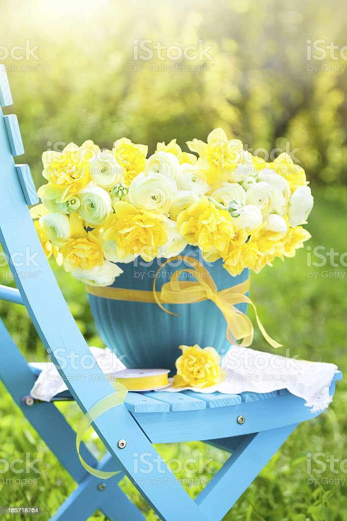 Bouquet of bright spring flowers in a garden stock photo