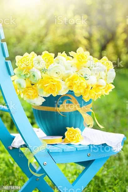Bouquet Of Bright Spring Flowers In A Garden Stock Photo - Download Image Now