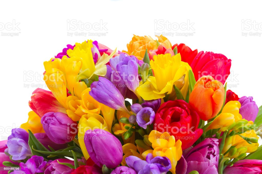 Bouquet Of Bright Spring Flowers Stock Photo & More Pictures of ...
