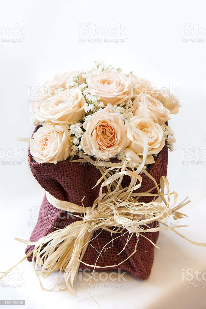 Bouquet of champagne roses stock photo
