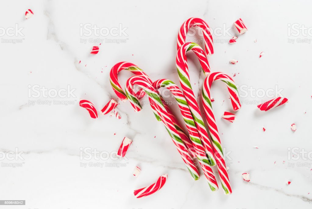 Bouquet of Christmas candy canes stock photo
