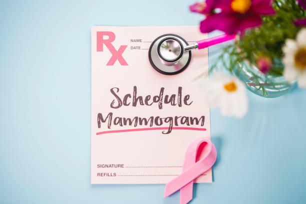 blumenstrauß mit rezept für mammographie kosmos - mammografie stock-fotos und bilder