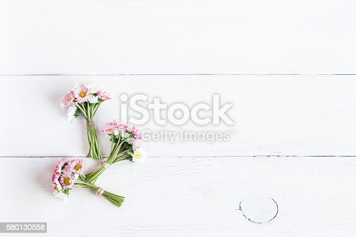 bouquet of daisy flowers top view flat lay stock photo
