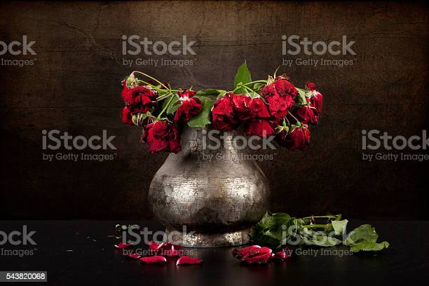 Photo of bouquet of dead red roses in silver vase, grunge background