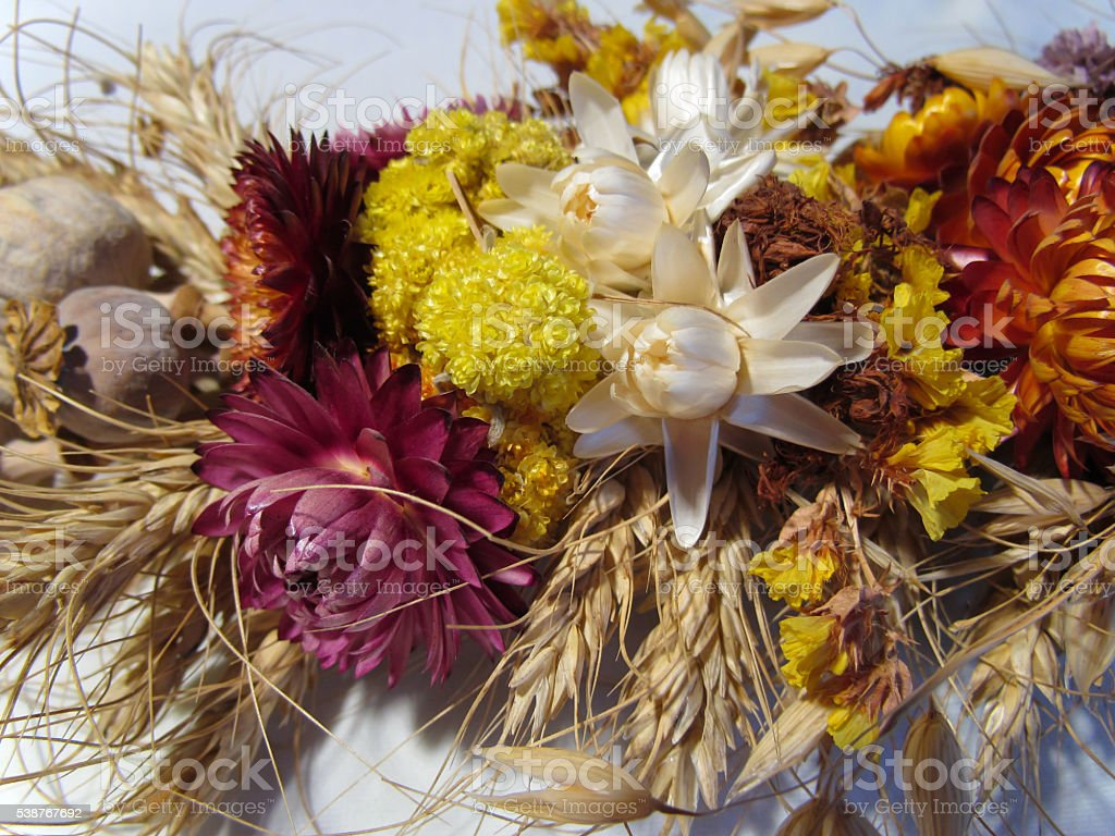 Abstract bouquet of dried flowers and poppies