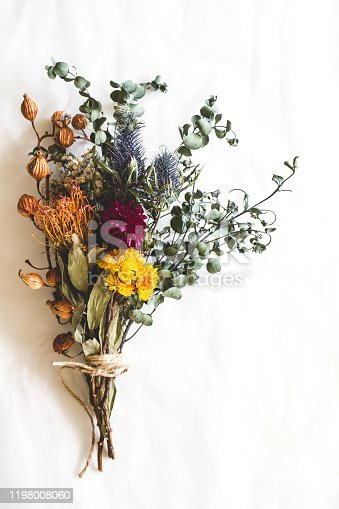 Dried flowers, bouquet, interior, flat lay