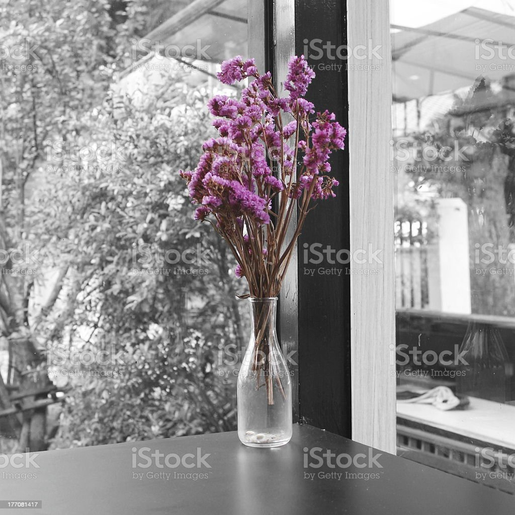 Bouquet Of Dried Pink Statice Flowers In Glass Bottle Stock Photo