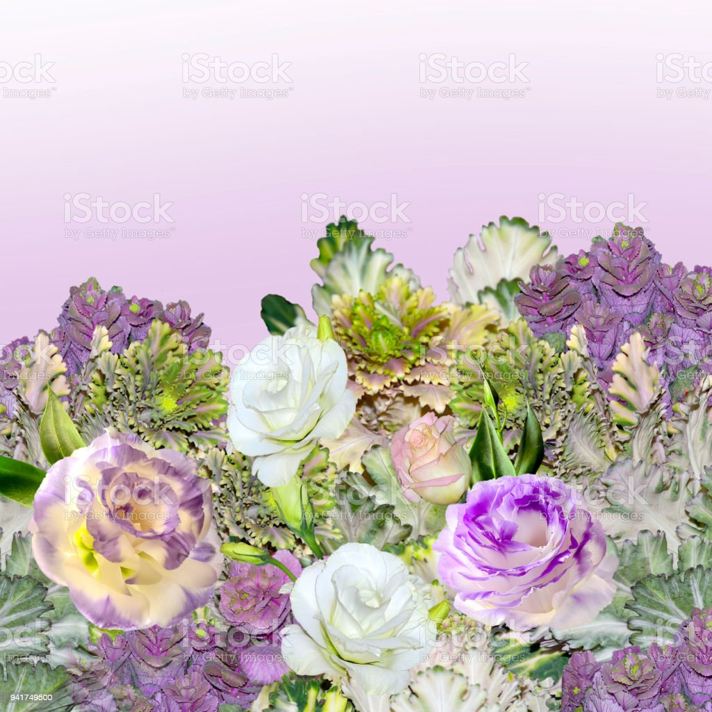 Bouquet Of Eustoma Flowers And Ornamental Cabbage Brassica Stock