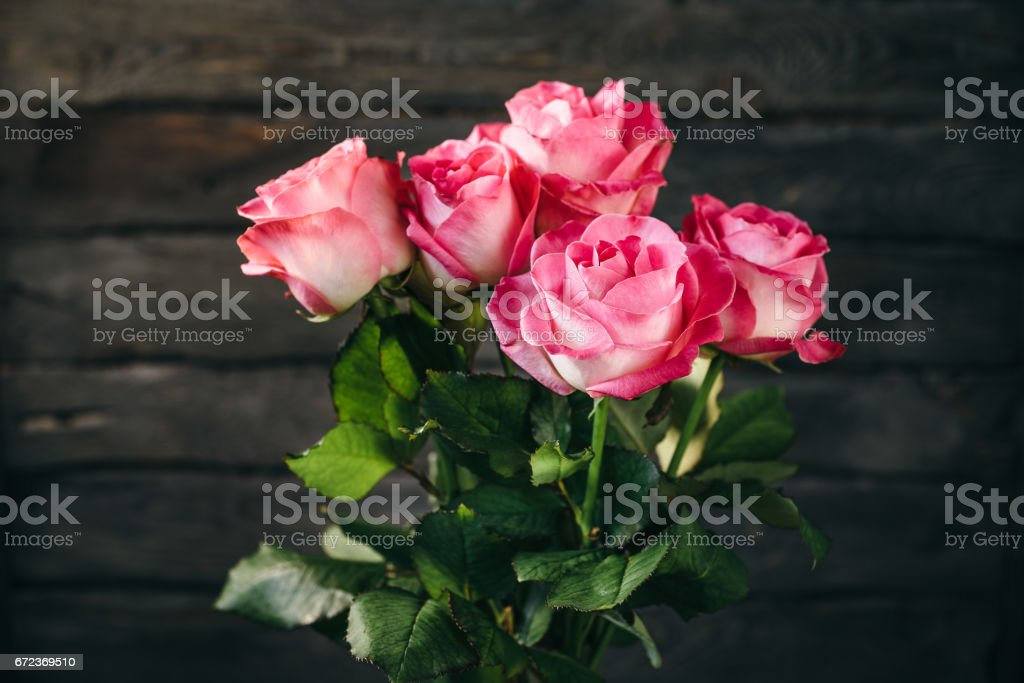 Bouquet of five pink roses infront of dark wooden wall. stock photo