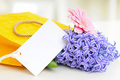bouquet of flowers and card