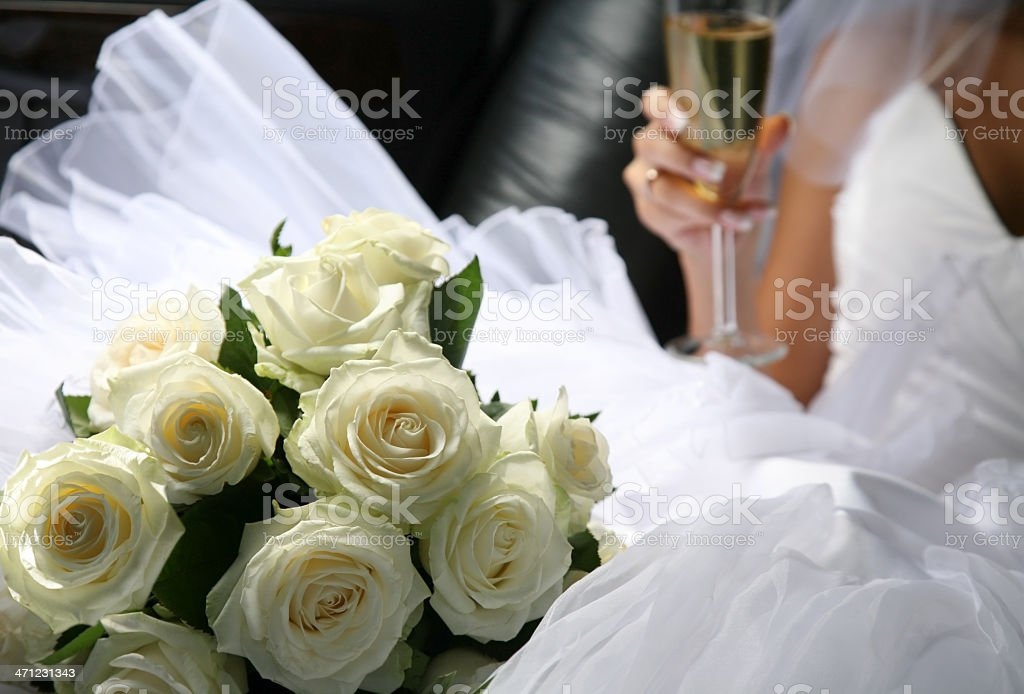 Bouquet of flowers and champagne royalty-free stock photo