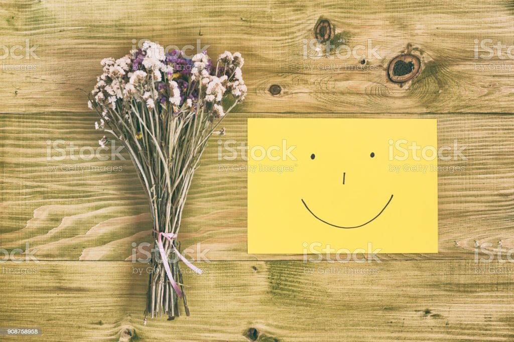 Bouquet Of Flowers And Smiley Face Stock Photo & More Pictures of ...
