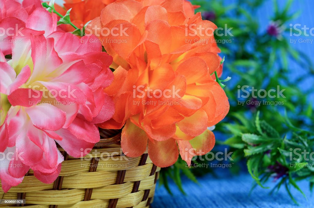 bouquet of flowers basket stock photo