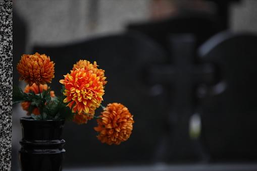 Blombukett I En Vas På Kyrkogården-foton och fler bilder på Arrangemang